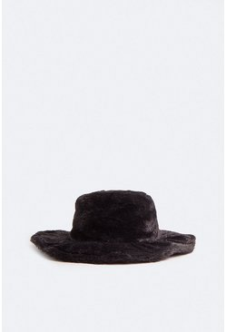Black Faux Fur Wide Rim Hat