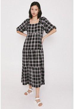 Black Check Tiered Midi Dress