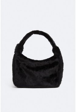 Black Faux Fur Mini Shoulder Bag