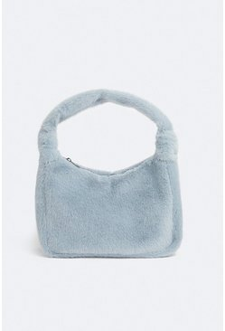 Pale blue Faux Fur Mini Shoulder Bag