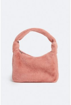 Pink Faux Fur Mini Shoulder Bag