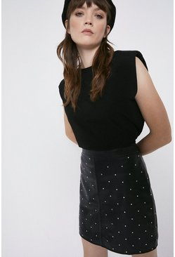Black Studded Leather Pelmet Skirt