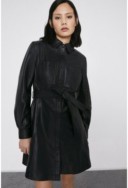 Black Real Leather Shirt Dress
