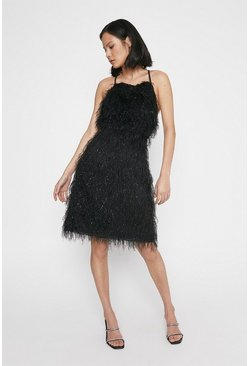 Black Feather Detail Crossback Dress