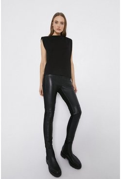 Black Real Leather And Ponte Legging