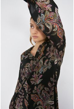 Multi Paisley Print Oversized Shirt Dress