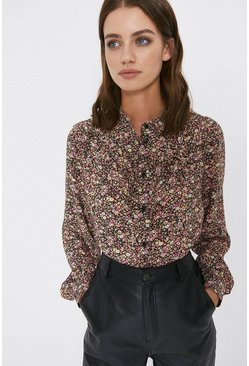 Pink Ditsy Floral Frill Front Shirt