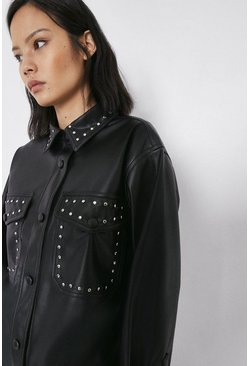 Black Studded Faux Leather Shirt