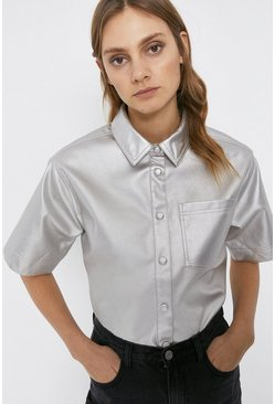 Silver Short Sleeve Faux Leather Shirt