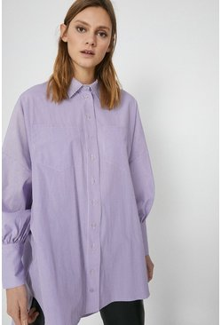 Lilac Puff Sleeve Stripe Shirt