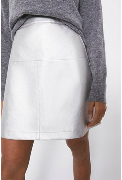 Silver Seamed Faux Leather Pelmet Skirt