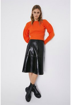 Black Faux Leather Seamed Patent A Line Skirt