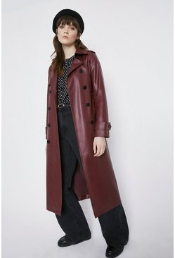 Fig Faux Leather Trench Coat