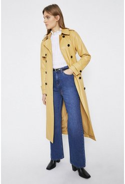 Sand Faux Leather Trench Coat