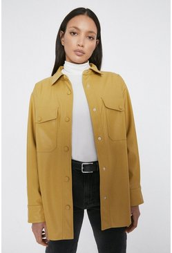 Sand Faux Leather Shirt