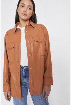 Tan Faux Leather Shirt