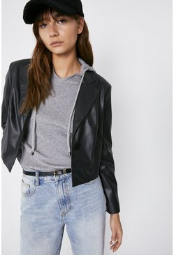 Black Cropped Faux Leather Blazer