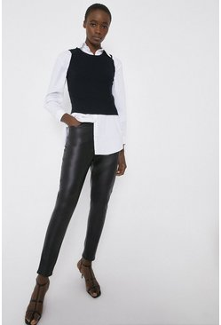 Black Faux Leather Skinny Jean