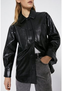 Black Faux Leather Croc Patch Pocket Shirt