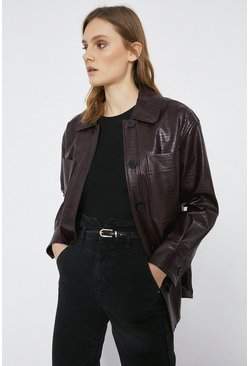 Wine Faux Leather Croc Patch Pocket Shirt