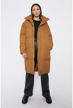 Light tan Mixed Quilted Duvet Midi Coat