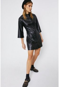 Black Faux Leather Fluted Sleeve Shirt Dress