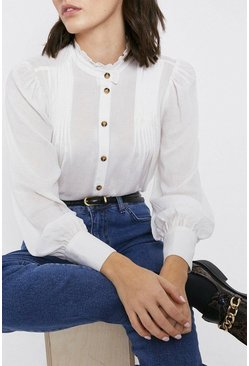 Ivory Pintuck Detail Blouse