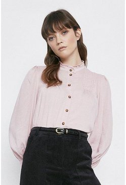 Pale pink Pintuck Detail Blouse
