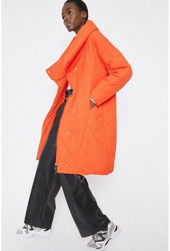 Orange Asymmetric Quilted Duvet Coat