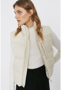 Cream Sleeveless Padded Body Warmer