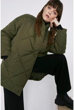 Olive Diamond Quilted Wrap Padded Jacket