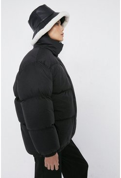 Black Funnel Neck Padded Jacket