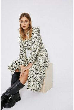 Chartreuse Animal Print Shirt Dress