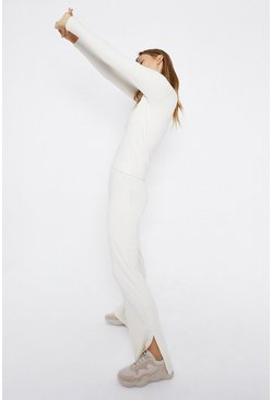 Cream Premium Rib Wide Leg Trouser