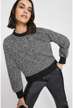 Mono Leopard Jacquard Drop Hem Sweat