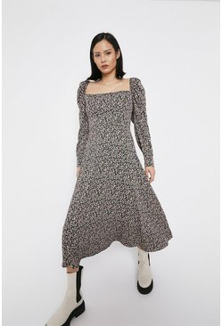 Black Square Neck Puff Sleeve Floaty Midi Dress