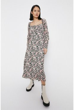 Pink Square Neck Puff Sleeve Floaty Midi Dress