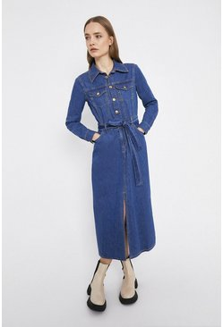 Mid wash Split Front Maxi Denim Dress