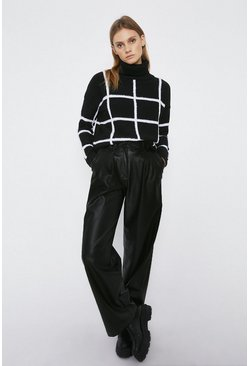 Black Textured Check Jumper