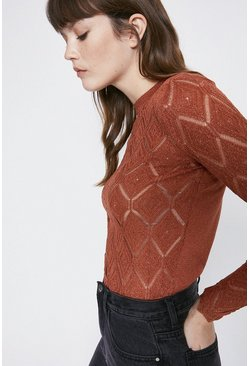 Tan Sheer Stitch Detail Metallic Jumper