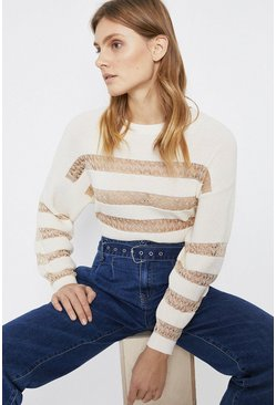 Ecru Sheer Lace Detail Stripe Jumper