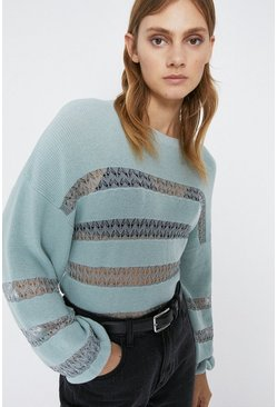 Pale blue Sheer Lace Detail Stripe Jumper