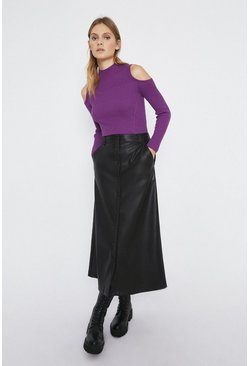 Purple Ribbed Cut Out Shoulder Jumper