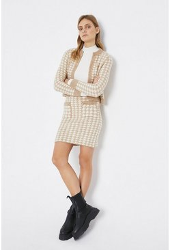 Camel Dog Tooth Knitted Co-Ord