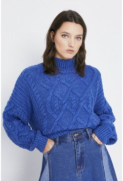 Blue Cosy Cable Stitch Jumper