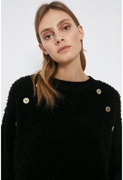 Black Cosy Button Detail Jumper