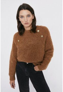 Camel Cosy Button Detail Jumper
