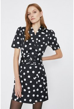 Black Spot Print Double Breasted Blazer Dress