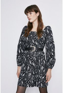Black Swirl Print Ruch Sleeve Mini Dress