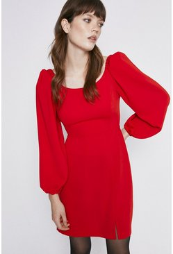 Red Ruche Sleeve Crepe Dress